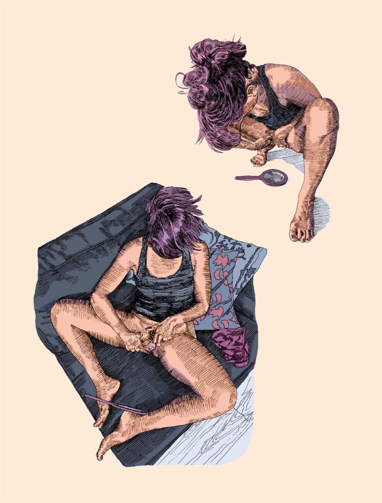 Illustration mettant en scène une femme dans deux positions différents qui regarde sa vulve dans un miroir. En haut elle est accroupie et le miroir est posé sur le sol. En bas elle est assise dans un canapé, les jambes écartées et les pieds ramenés vers elle. Le miroir est soutenu par ses pieds et avec ses mains elle écarte ses lèvres.